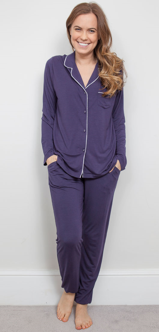 Cyberjammies Cassi Buttoned Pyjama Top and Bottoms Purple