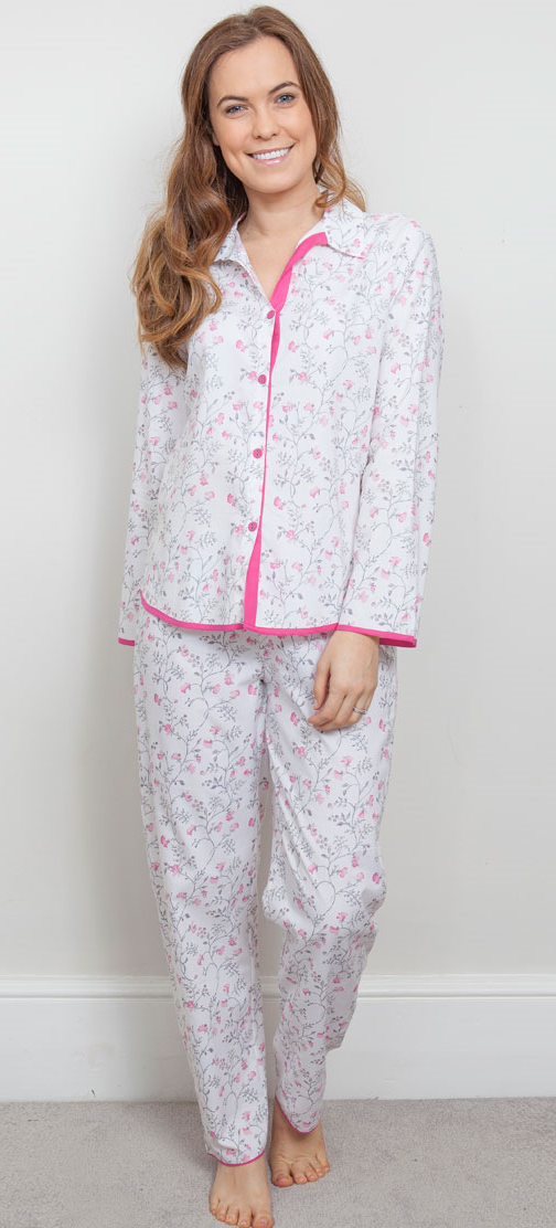 cyberjammies erica patterned buttoned pyjama top and pant set
