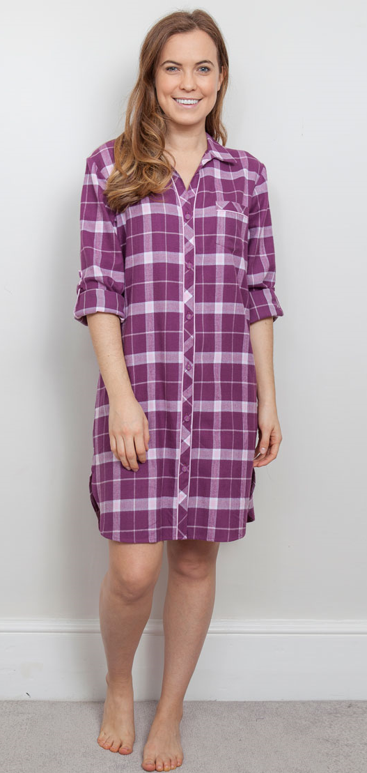 Cyberjammies Fiona Buttoned Nightshirt Cresie Checked Print