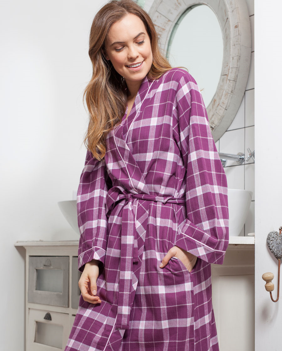 Cyberjammies Fiona Checked Long Wrap Bathrobe Dressing Gown Cerise