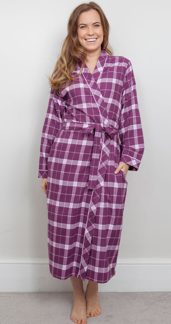 Cyberjammies Fiona Checked Pattern Long Dressing Gown-Wrap-Bathrobe-Cerise