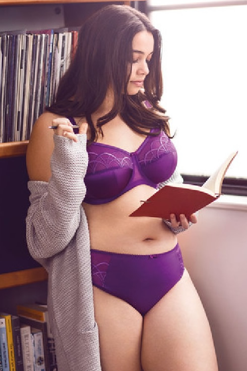 Elomi Cate Promo Pic Bra Briefs Purple