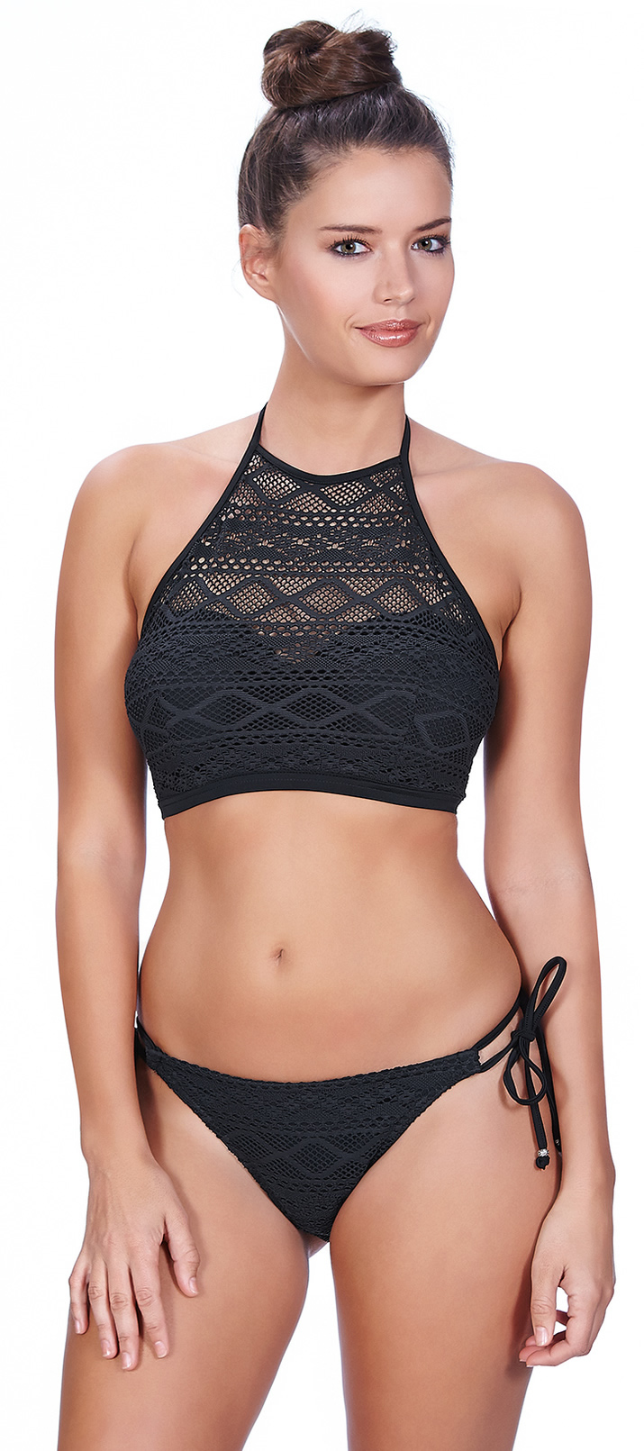 Freya Sundance High Neck Crop Top Black