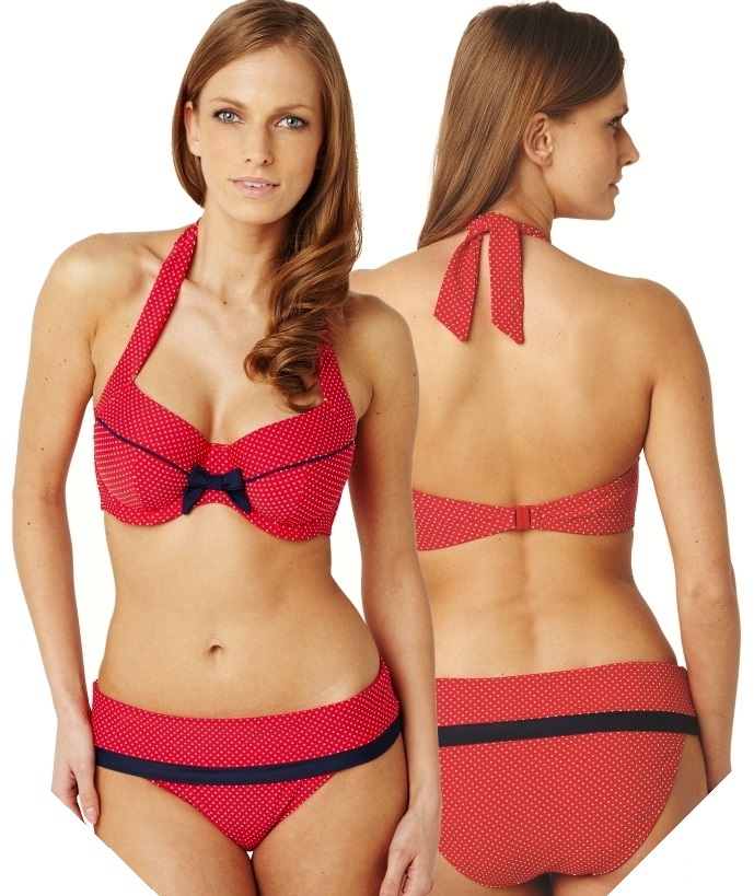 Panache Britt Halterneck Swimsuit Front and Rear view Red Spot